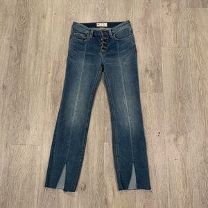 Free People Front-Split Ankle Jeans Size 25x25